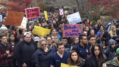 People protest on the University of Connecticut campus against the election of Republican Donald Trump as president, Wednesday, Nov. 9, 2016, in Storrs, Conn. (AP Photo/Pat Eaton-Robb)